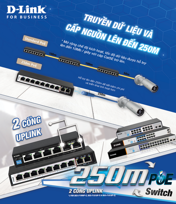 Switch Dlink cấp nguồn 250m